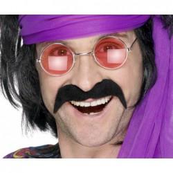 Moustaches 70's/80's noires auto adhésives