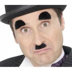 Moustaches et sourcils charlot auto adhésifs