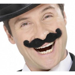 Moustaches music-hall noire auto adhésives