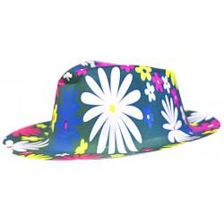Chapeau gangster pvc imprime fleurs