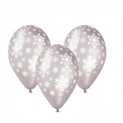 Sachet de 10 ballons flocons de neige argent imp blanc diam 30 cm