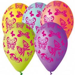 Sachet de 10 ballons papillons multicolores imp rose diam 30 cm