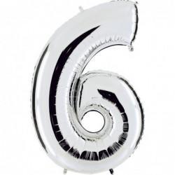 Ballon mylar métallisé argent chiffre 6 hauteur 102 cm