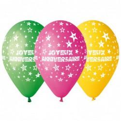 """Sachet de 50 ballons """"joyeux anniversaire"""" multi diam 30cm"""