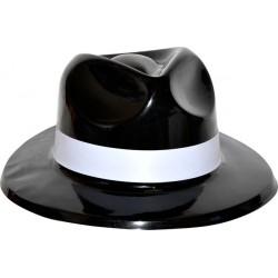 Chapeau gangster adulte pvc noir