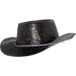 Chapeau de cowboy adulte paillette en pvc noir