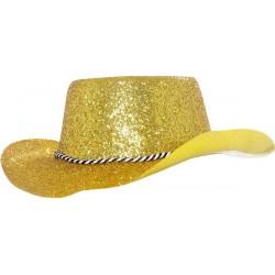 Chapeau de cowboy adulte paillette en pvc or