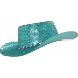 Chapeau de cowboy adulte paillete en pvc turquois