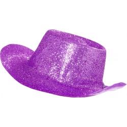 Chapeau de cowboy adulte paillete en pvc lilas