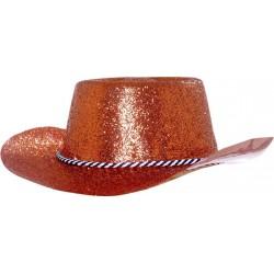 Chapeau de cowboy adulte paillette en pvc rouge