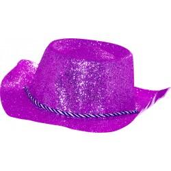 Chapeau de cowboy adulte paillete en pvc violet