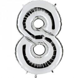 Sachet de 1 ballon mylar métallisé argent chiffre 8 hauteur 102 cm