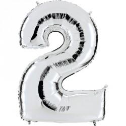 Ballon mylar métallisé argent chiffre 2 hauteur 102 cm