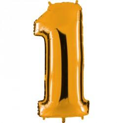Ballon mylar métallisé or chiffre 1 hauteur 102 cm