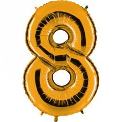 Ballon mylar métallisé or chiffre 8 hauteur 102 cm