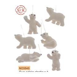 Ours polaire plast à susp paillettes ass environ 9cm