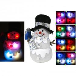 Bonhomme de neige lumineux 3 modèles assortis 20 cm