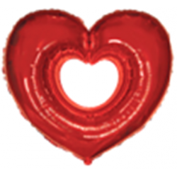 Ballon mylar rouge cœur ouvert