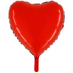 Sachet de 1 ballon mylar métallisé coeur rouge - hauteur 81 cm