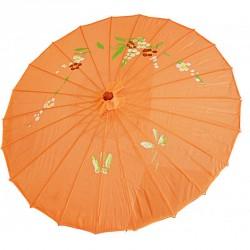 Ombrelle chinoise en tissu décoré orange