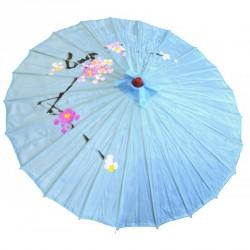 Ombrelle chinoise en tissu décoré bleu