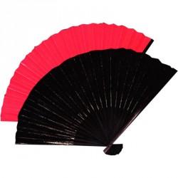 Éventail Chinois 23 CM environ en tissu 100% polyester noir