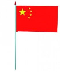 Sachet de 50 minis drapeaux de chine 2,5 cm * 35 cm + pique en bois 6,5 cm
