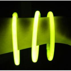 Tube de 100 bracelets lumineux 20 cm 4/6 h jaune