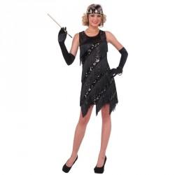 Robe noire années 20 à franges et Sequin