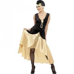 Déguisement Gatsby Femme des années 20, noir et or