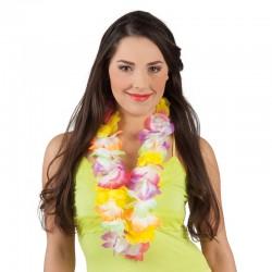 Collier hawaïen fleurs fluo 45 cm