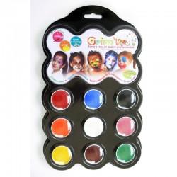 Palette 9 couleurs - carnaval - 9x4 ml - grim'tout