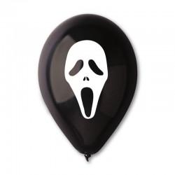 10 ballons Halloween noir et blanc fantôme 30 cm