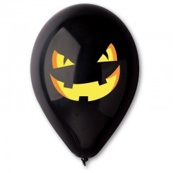 100 ballons noirs imprimés citrouille 30 cm