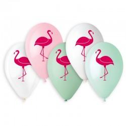 Sachet de 5 ballons flamant rose diam 33cm assortis