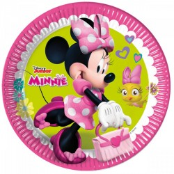 8 assiettes minnie rose
