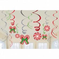 12 suspensions spirale sucre d'orge 45cm, 61 cm
