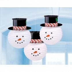 3 Lanternes papier bonhomme de neige 24 cm