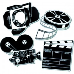 Set de 4 decorations cinema 40 cm - carton imp 2 faces