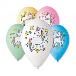 5 ballons douce licorne