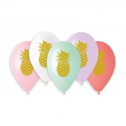 5 ballons ananas gold diam...