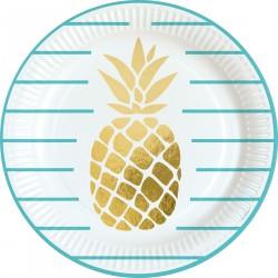 8 Assiettes Ananas 23 cm -...
