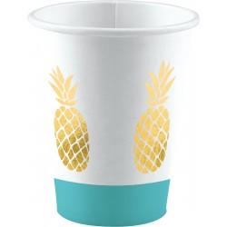 8 Gobelets Ananas 250ml -...