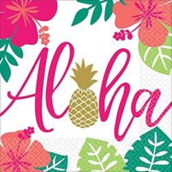 16 Serviettes Aloha 33 X 33 cm