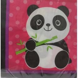 Serviette panda lot de 20